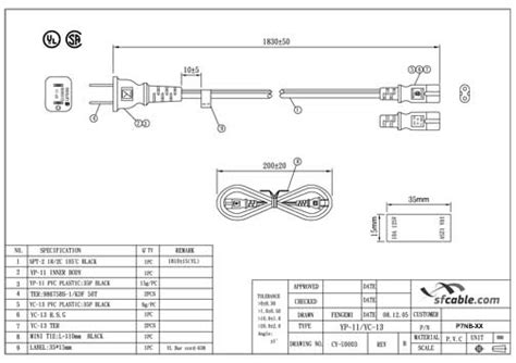 6ft awg 2 slot non polarized power cord iec320 c7 to