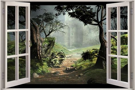 huge 3d window view fantasy forest wall sticker film decal