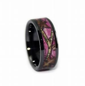 Pink camo wedding rings black ceramic band by 1 camo for Camoflauge wedding rings