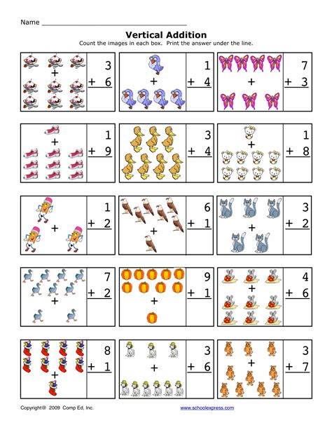 free worksheets math addition sums 1 10 vertical