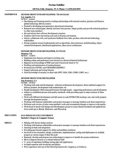 senior front end developer resume sles velvet jobs