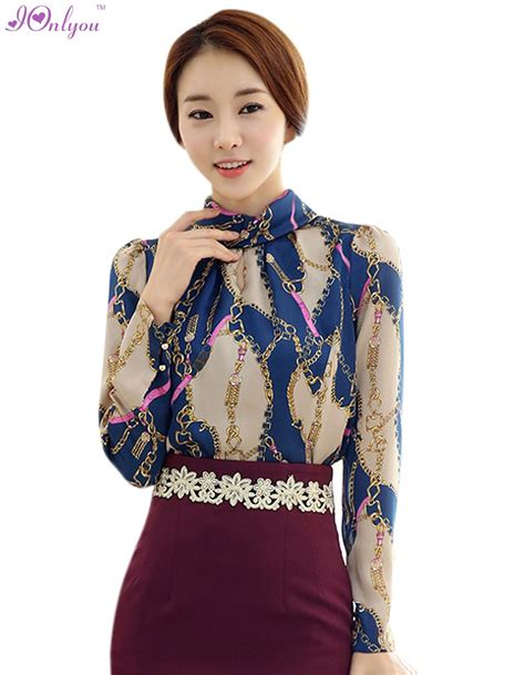 Women New Fashion Korean Style Long Sleeve Stand Neck Tops Blouse-in Blouses u0026 Shirts from Women ...
