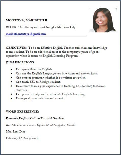 resume format for freshers job application letter sle