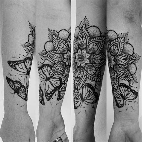 mandala butterfly tattoo linework munkytattoo