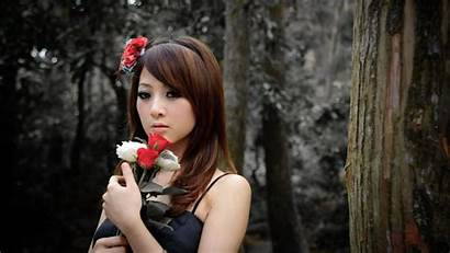 Korean Kobieta 1080p Wallpapers Azjatka Kwiaty Desktop