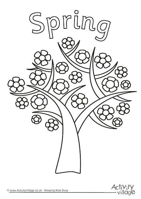 spring tree colouring page tree coloring page spring
