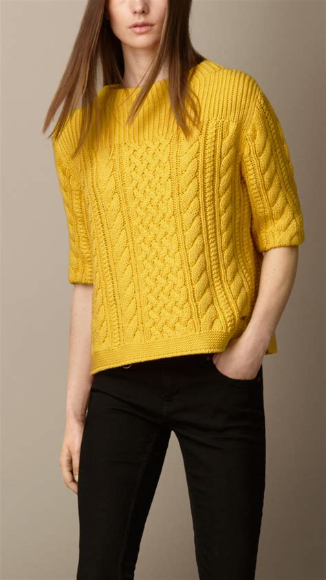 yellow cable knit sweater lyst burberry cotton blend cable knit sweater in yellow