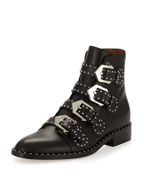 Lyst  Givenchy StuddedLeather Ankle Boots in Black