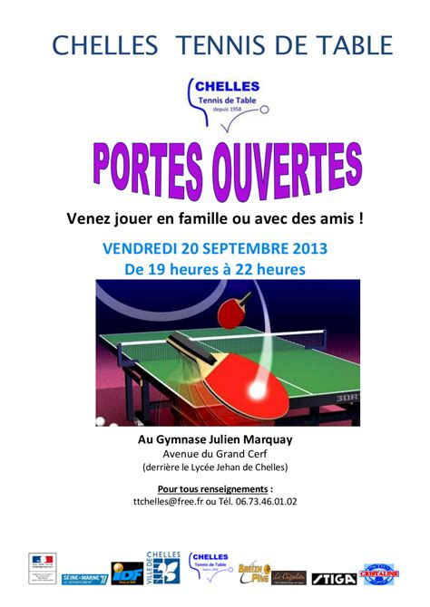 actualit 233 portes ouvertes le vendredi 20 septembre 2013 club tennis de table chelles tennis