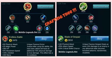 mobile legends items crafting item tree 2019 mobile legends