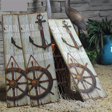 nautical decor rustic sign plaque wall art picture lighthouse design anchor alexnld com