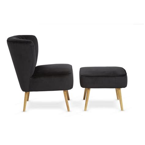 Bedroom Chair And Footstool by Samova Fabric Bedroom Chair In Brushed Black Velvet 31055