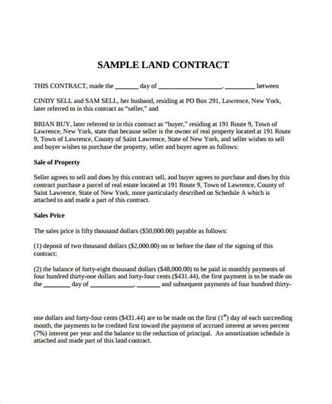 simple land purchase agreement form business mentor