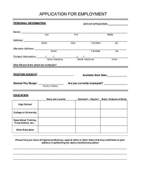 free printable application for employment blank application form sles free forms templates in pdf word