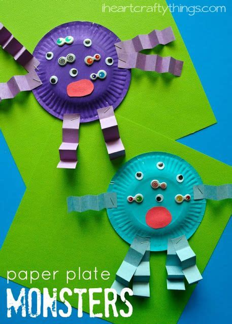 paper plate monster kids craft paper plate crafts