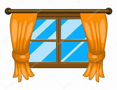 Window Cartoon Curtains Symbol Vector Icon Illustration