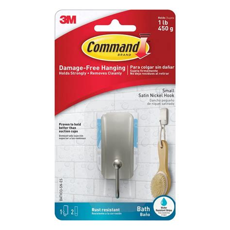 command small satin nickel bath hook with water resistant