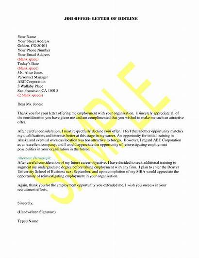 Offer Job Letter Template Rejection Employment Rejecting