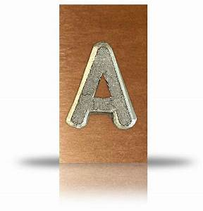 lead letter mounted on copper With unmounted lead letters