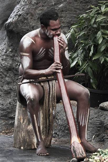 Aboriginal Traditional Playing Musical Children Families Didgeridoo