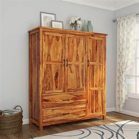 Large Armoire Wardrobe by Sheffield Rustic Solid Wood 3 Door Large Bedroom Wardrobe