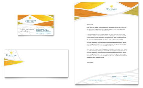 assisted living business card letterhead template word