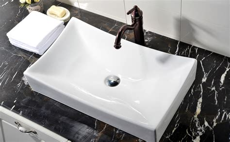 Rectangle Bathroom Sink by White Rectangle Porcelain Ceramic Above Counter Bathroom