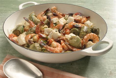 grouper shrimp artichokes recipe cream tarragon fish sole rex recipes shellfish mushrooms baked salad cooking