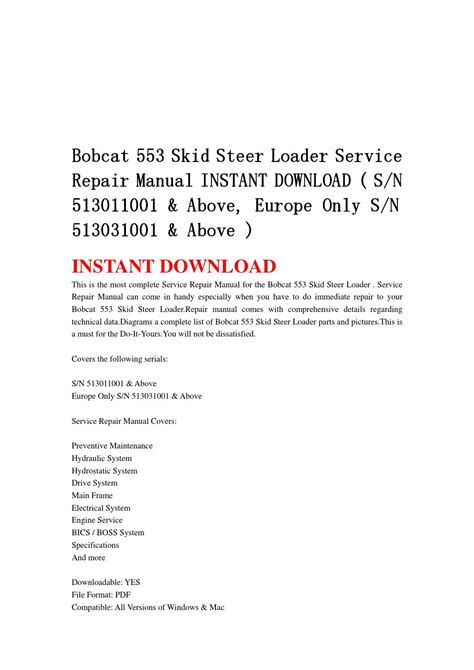 bobcat 553 skid steer loader service repair manual instant sn 513011001 above