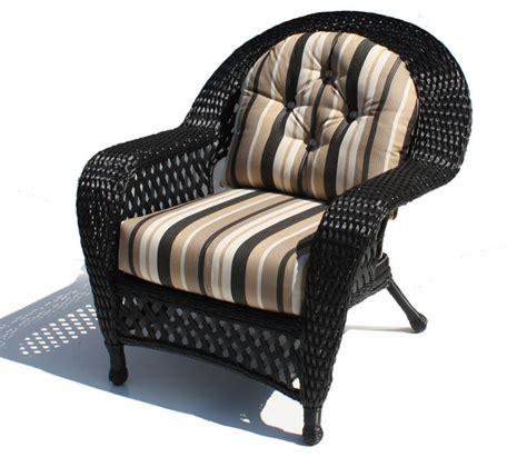 outdoor wicker chair montauk shown in black tropical