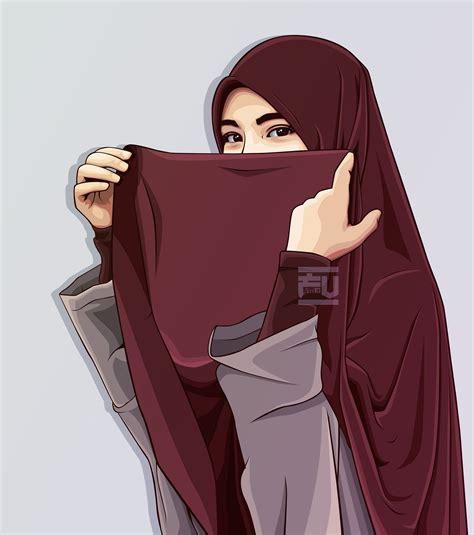 vector hijab atahmadfu seni  kartun gambar