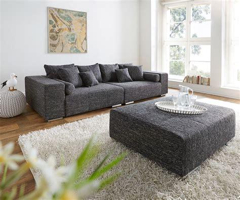 big sofa hocker big sofa marbeya 280x115 cm schwarz mit hocker wohnzimmer und