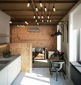 Mur En Brique Intérieur : 21 id es pour un parement de brique dans la maison ~ Melissatoandfro.com Idées de Décoration