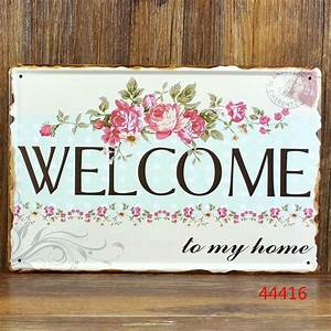 WELCOME to My Home Vintage Home Wall Letters Tin Sign