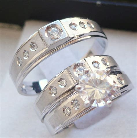 10k solid white gold his 3 wedding engagement band ring ebay