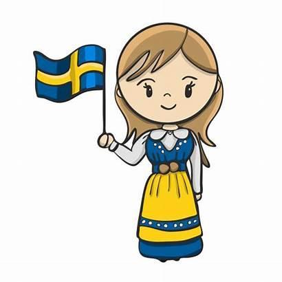 Swedish Costume Traditional Vector Clothing Illustrations Cartoon