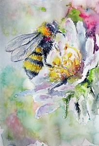 Bee On Flower Painting by Kovacs Anna Brigitta