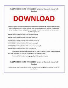 Mazda Cx9 Cx 9 Grand Touring 2008 Service Repair Manual By
