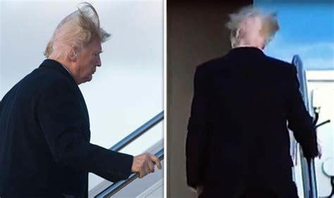 trump donald bald patch hair wind president gust revealed calvo seen