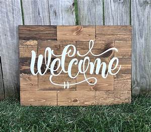 large, rustic, pine, wood, welcome, sign, , u2013, knot, and, nest, designs