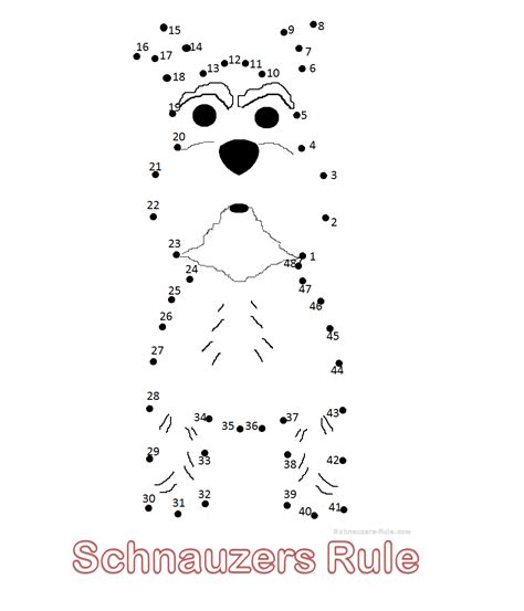 printable mini schnauzer connect  dots drawing  kids