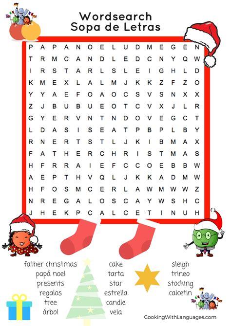 christmas wordsearch easy cooking  languages