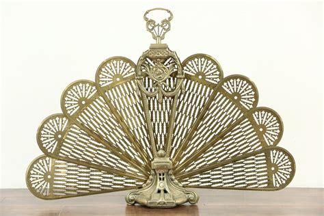 SOLD - Peacock Fan Brass Vintage Folding Fireplace Screen