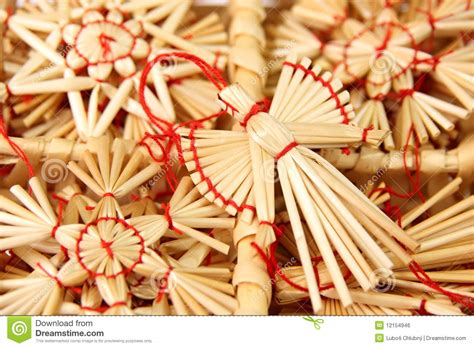 Christmas Decorations From Straw Stock Photo