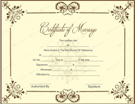 Marriage Certificate Template by 10 Beautiful Marriage Certificate Templates To Try This Season