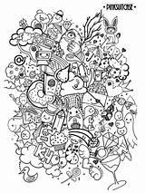 Coloring Doodle Adults Doodles Adult Sketsa Books Clip sketch template