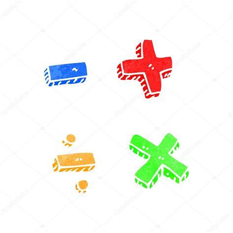 símbolos de las matemáticas de dibujos animados retro