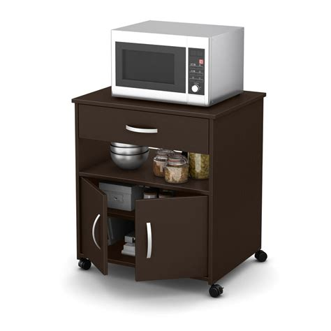 Home Depot Microwave Stand by South Shore Axess Chocolate Microwave Cart With Storage