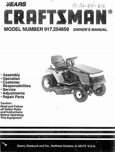 Craftsman 917254850 User Manual Lawn  Tractor Manuals And