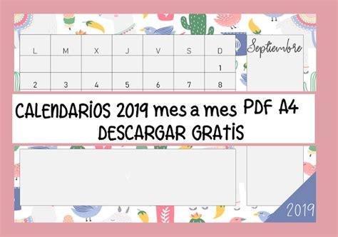 Calendarios 2019 Para Imprimir Mes A Mes En Tamaño A4 Tres